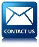 与我们联系(电子邮件象)蓝色方形的按钮 免版税库存图片