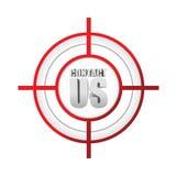 与我们联系目标标志概念例证 免版税图库摄影