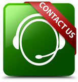 与我们联系顾客关心象绿色正方形按钮 免版税图库摄影