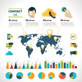 与我们联系infographics集合 库存照片