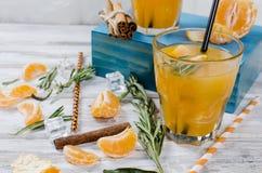 与戒毒所新鲜的有机黄瓜、柠檬和薄菏wa的两块玻璃 免版税库存照片