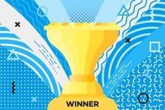 与战利品杯子的奖招贴优胜者的 库存图片