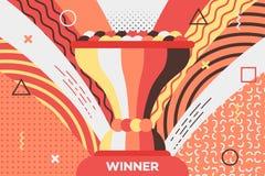 与战利品杯子的奖招贴优胜者的 免版税图库摄影