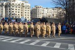 与战士的军事游行从阿富汗 免版税库存照片