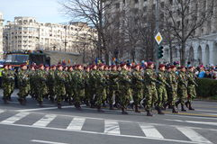 与战士的军事游行 库存图片