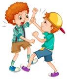与战斗的两个男孩 免版税图库摄影