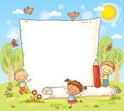 与户外三个孩子的动画片框架 免版税库存照片
