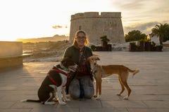 与户外黑夹克的模型在与宠物的日落 免版税图库摄影