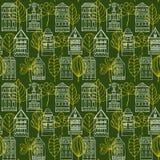 与房子和叶子的无缝的样式 免版税库存照片