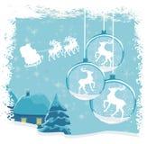 与房子和圣诞老人的抽象风景 免版税库存图片