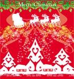 与房子和圣诞老人的抽象风景 库存图片