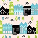 与房子和大厦的向量无缝的模式 免版税库存照片