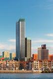 与房子和摩天大楼的鹿特丹地平线 免版税库存照片