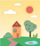与房子和树的农村夏天风景 库存图片