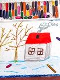 与房子和树的冬天风景没有叶子 库存图片