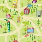 与房子和路的动画片地图无缝的样式 免版税图库摄影