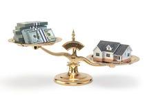 与房子和金钱的标度 不动产投资概念 库存例证