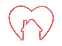 与房子形状的心脏 免版税库存图片