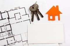 与房子形象的空白的名片 实际概念的庄园 顶视图 库存图片