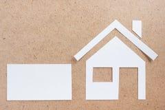 与房子形象的空白的名片 实际概念的庄园 顶视图 免版税库存图片