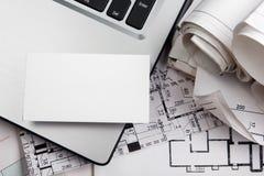 与房子形象的空白的名片 实际概念的庄园 顶视图 免版税图库摄影