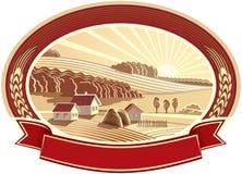 与房子的农村风景。单色。 免版税库存照片