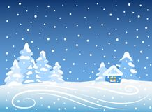 与房子的冬天横向 免版税库存照片