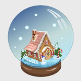 与房子的圣诞节在它里面的球和装饰 免版税图库摄影