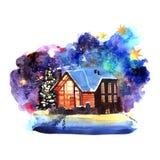 与房子的手拉的水彩冬天夜风景 向量例证