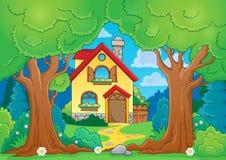与房子的树题材 免版税库存图片