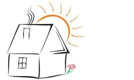 与房子的简单的商标 库存例证