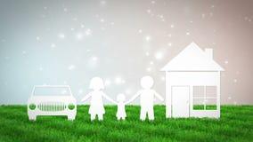 与房子的纸在bokeh背景的家庭和汽车 3D回报动画 库存例证