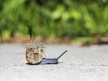 与房子的蜗牛 库存照片
