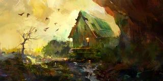 与房子的被绘的秋天风景 免版税库存图片