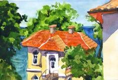 与房子的水彩风景 库存照片