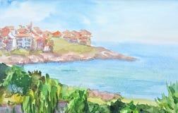 与房子的水彩风景 免版税库存照片