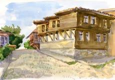 与房子的水彩风景 库存图片
