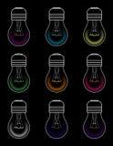与所有颜色的电灯泡在黑隔离 向量例证