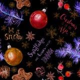 与手书面行情的圣诞节霓虹发光的无缝的样式 新年字法关于雪和假日 冷杉 向量例证