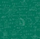 与手写的惯例的算术科学传染媒介无缝的样式在背景的一个绿色黑板 皇族释放例证