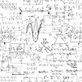 与手写的数学公式的无缝的不尽的样式背景 库存照片