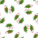 与手凹道圣诞节和新年元素的水彩无缝的样式 :霍莉莓果和叶子 饮料例证纸张减速火箭主题向量包裹 图库摄影