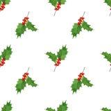 与手凹道圣诞节和新年元素的水彩无缝的样式 :霍莉莓果和叶子 免版税图库摄影