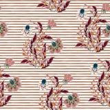 与手凹道幻想的无缝的花卉样式在小条背景开花 向量