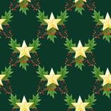 与手凹道金黄星、霍莉莓果和叶子的水彩无缝的圣诞节样式在深绿背景 库存照片