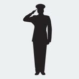 与手势向致敬的被说明的军队一般剪影 向量 库存图片