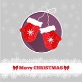 与手套的圣诞卡模板 免版税库存照片