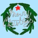 与手字法和装饰花圈的圣诞节手拉的传染媒介贺卡 向量例证