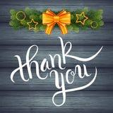与手字法的节日礼物卡片感谢您和圣诞节铈 免版税库存照片