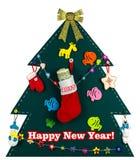 与手工制造玩具的圣诞树 充分库存美元 免版税库存照片
